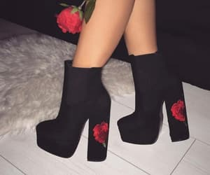 black, high heels, and roses image
