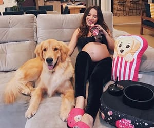dog, girl, and pregnancy image