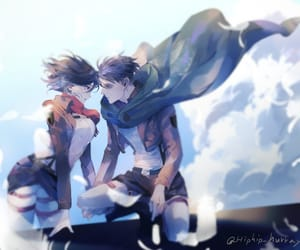 levi, snk, and mikasa image