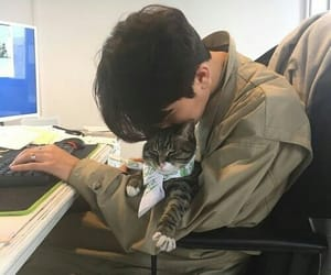 boy, asian, and cat image