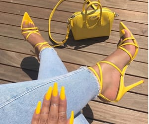 blue jeans, style, and yellow image