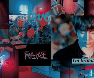 blue, header, and red image