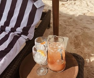 beach, drinks, and sand image