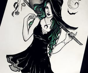 amazing, black and white, and witch image