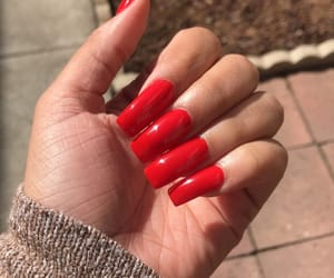 acrylics, long nails, and red image