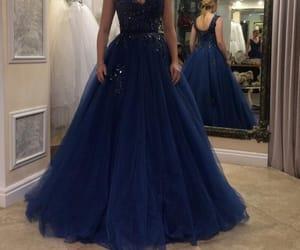 dress, prom dress, and navy blue prom dress image