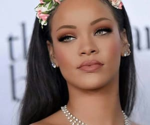 rihanna, makeup, and flowers image