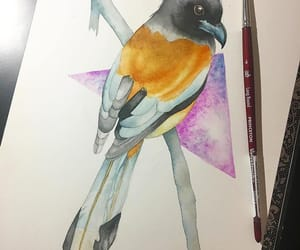 art, birds, and drawing image