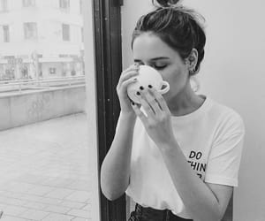 beauty, black and white, and bun image