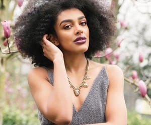 black women, fro, and necklace image