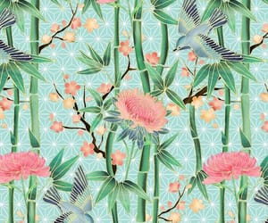 birds, flowers, and pattern image