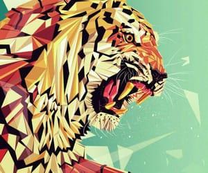 animal art, cat, and geometric image