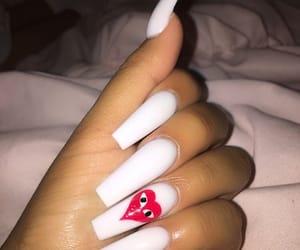 nails, acrylic, and white image