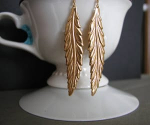 feather earrings, feather jewelry, and minimalist earrings image