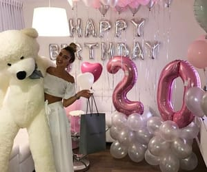 girl, balloons, and birthday image