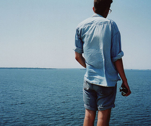 blue, guy, and ocean image