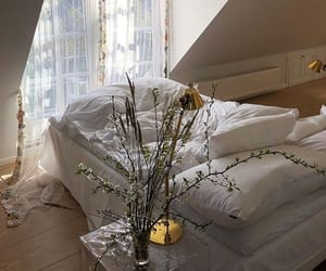 white, bed, and flowers image