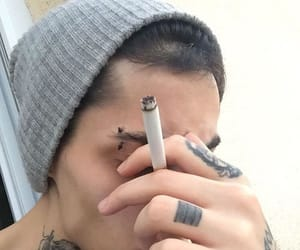 boy, tattoo, and cigarette image