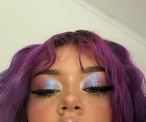 purple hair, girl, and makeup image
