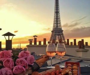wine, peonias, and macarrones image