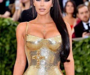 gold dress, kim kardashian, and long hair image
