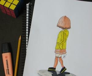 art, drawing, and yellow coat image