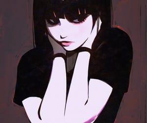 anime girl, beautiful, and black image
