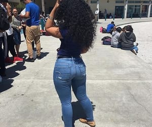 curly hair, dark skin, and thick image