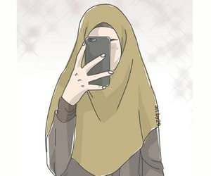 cartoon, hijab, and islam image