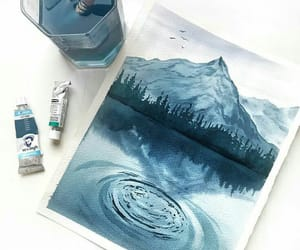 blue, painting, and watercolor image