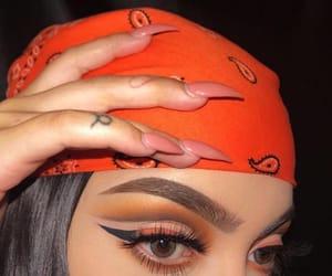 nails, orange, and Tattoos image