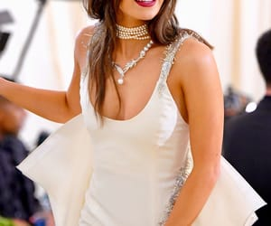 angelic, makeup, and white gown image