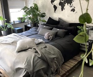 bedroom, green, and hippie image