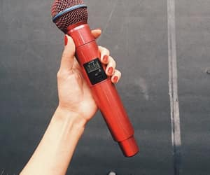 microphone, nail, and red image