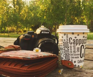 camera, cappuccino, and coffee image