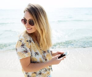 beach, girl, and nature image