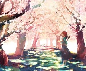anime girl, sakura, and cherry blossom image