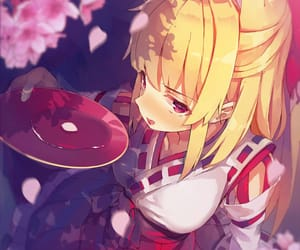 anime girl, cherry blossom, and drink image