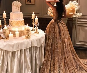 dress, gold, and cake image