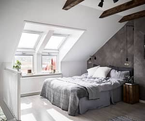 bed room, home decor, and attic bedroom image