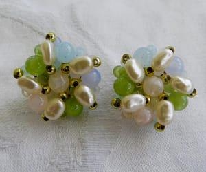 pearl earrings, summer earrings, and cluster earrings image