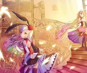 anime girl, blond hair, and music image
