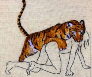 tiger, art, and woman image
