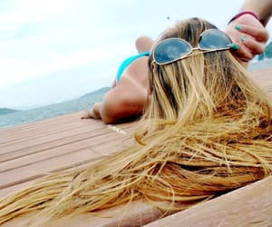beach, long hair, and sunglasess image