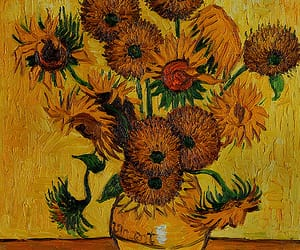 art, sunflowers, and van gogh image