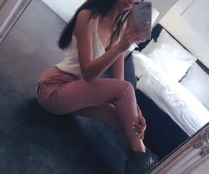 beautiful, dark hair, and girl image