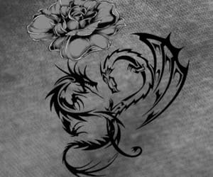 dragon, roses, and tattoo image