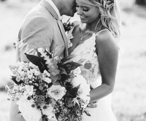 black and white, bouquet, and bride image