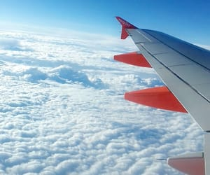 blue, plane, and sky image