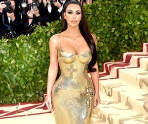 gold dress, kim kardashian west, and met gala image
